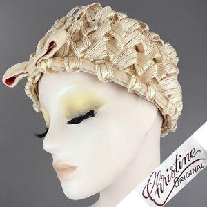 Vintage 40s Ribbon Raffia Hat w/ Bow 50s